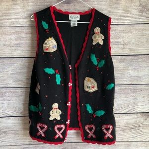 Vintage Gingerbread Christmas Knit Sweater Vest